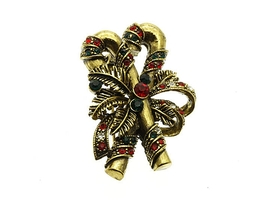 Crystal Stone Paved Candy Cane Pin and Brooch in Antique Goldtone - $11.95