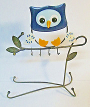 Blue Owl Tabletop Jewelry Tree Display Stand Metal Handpainted Kitsch Bird - $14.00