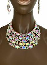 Collier Bib Earrings Set Aurore Boréale Cristaux Mariage Drag Reine Concours - $49.37