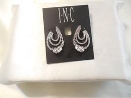 """INC 1-1/4"""" Silver-Tone Crystal Triple-Row Hoop Earrings C806 $29 - $13.43"""