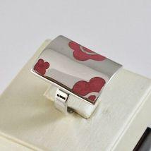 Ring A Band aus Silber 925 Rhodium mit Politur Pink Geformt Blumen image 3
