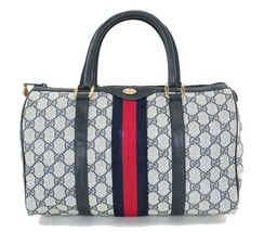 Authentic Vintage GUCCI Blue GG Canvas and Leather Boston Hand Bag #33418A - $379.00
