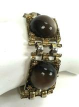 Vintage Bracelet Gold Tone Brown Lucite Plastic & Yellow Rhinestone Pane... - $14.84