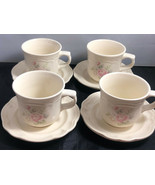 Pfaltzgraff Tea Rose Design 4 Coffee Cups and 4 Saucers Dinnerware - $31.68