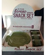 1960s Anchor Hocking 8 Piece Avocado Green Soreno Glass Snack Set in BOX - $24.00