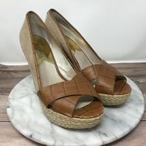 Michael Kors Cassandra Womens Size 7.5 Tan Peep Toe Espadrille Wedge Sandals - $31.45