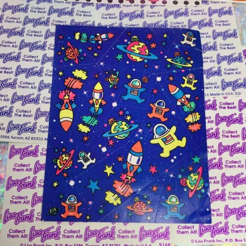 Vintage Lisa Frank Full Sticker Sheet Early Design Outer Space Astronauts S122