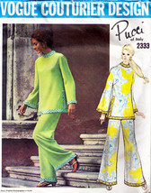 Vtg 1960's Misses' TUNIC & PANTS Vogue Couturier Pucci Design Pattern 23... - $50.00
