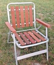 Vintage mid century retro Aluminum Redwood Cedar Folding Lawn  garden Chair - $39.59