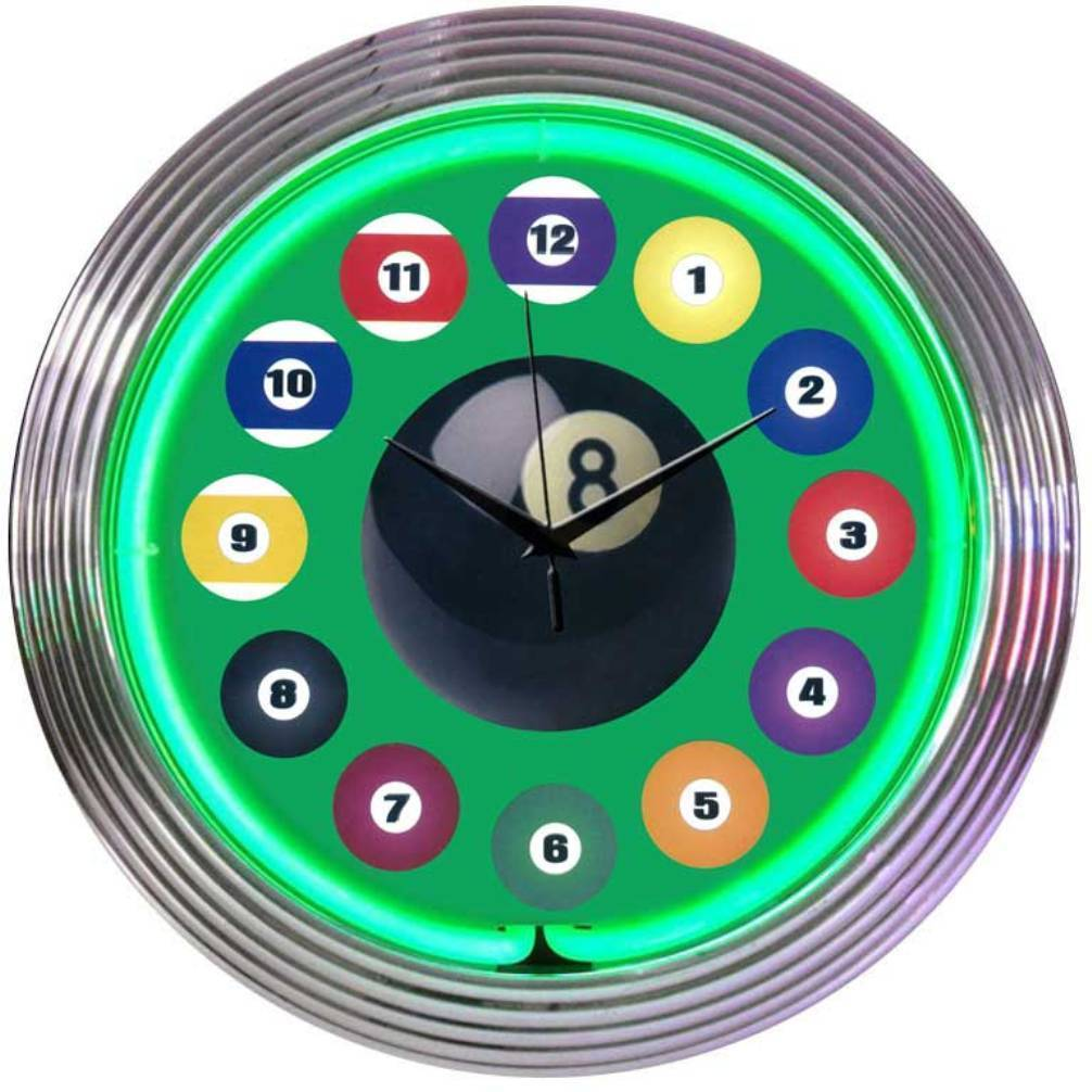 Game Room Bar Neon Clock Set Of 4 New Billiards 8 Ball 9 Ball 15 Inch Diameter