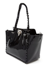Valentino Garavani Rockstud Medium/Large Black Pantent Leather Tote / Bag - $1,450.00
