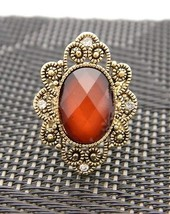 VTG Styled Faceted Amber & Clear Rhinestone Filigree Ring Adjustable Size - $9.90