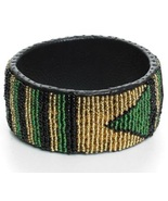 African leather beaded cuff bracelet made in kenya thumbtall