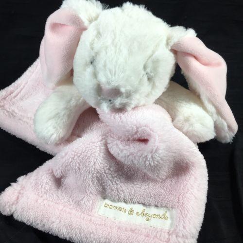NWT Blankets /& Beyond Gray White Bunny Rabbit Security Nunu Soft Plush Lovey Toy