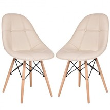 Set of 2 Armless PU Leather Dining Chairs w/ Wood Legs-Beige - Color: Beige - $169.42
