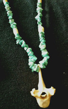 Vintage Old King-Man Mine Turquoise Necklace with Skulls Powow Tribal - $39.59