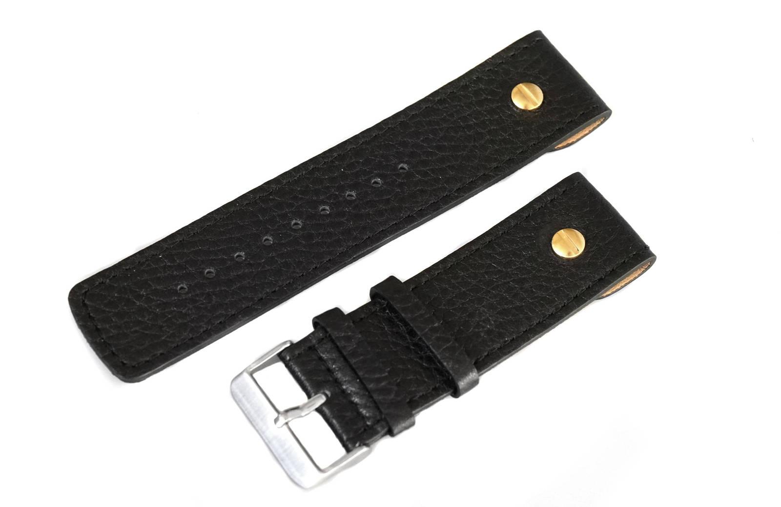26mm Leather Watch Strap Band with Silver Buckle for Diesel DZ2015-DZ1129-DZ1198