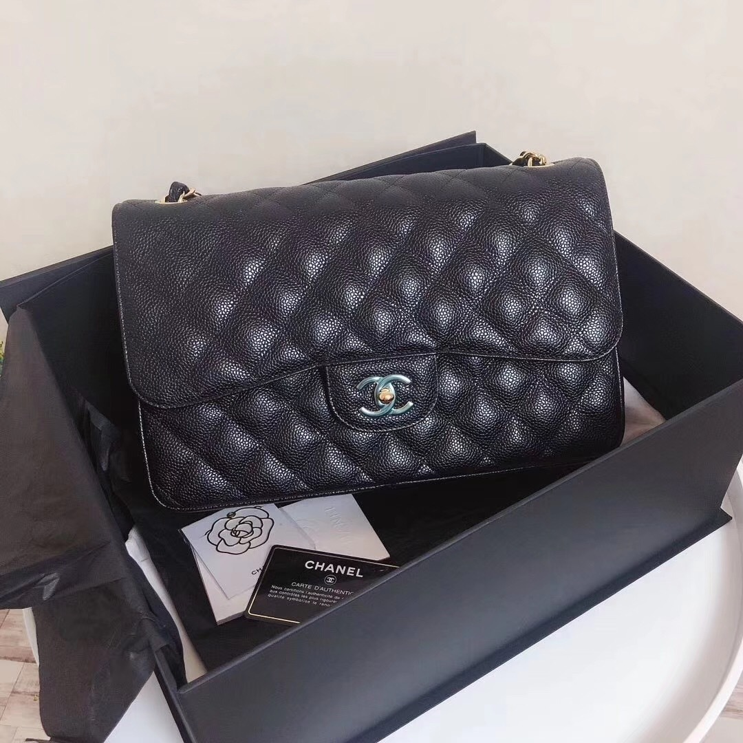 Primary image for BRAND NEW AUTH CHANEL BLACK CAVIAR QUILTED JUMBO DOUBLE FLAP BAG GHW