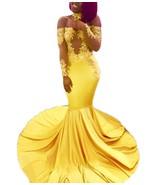 Mermaid Long Sleeves Prom Dress 2019 Gold Appliques Split Formal Evening... - $149.99