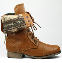Whisky Brown Faux Leather Fold Down Plaid Mid-Calf Lace-Up Military Combat Boots - $14.99