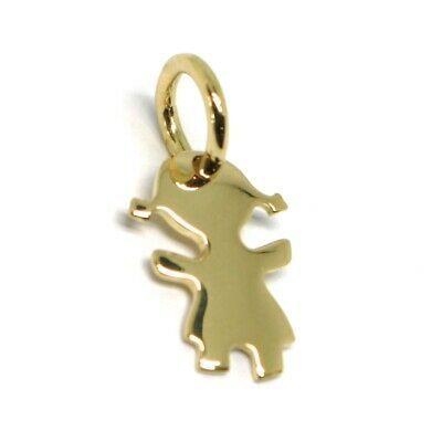 Charm Pendant in Yellow Gold 18K 750, Flat, Girl, Girls, Long 1.4 CM