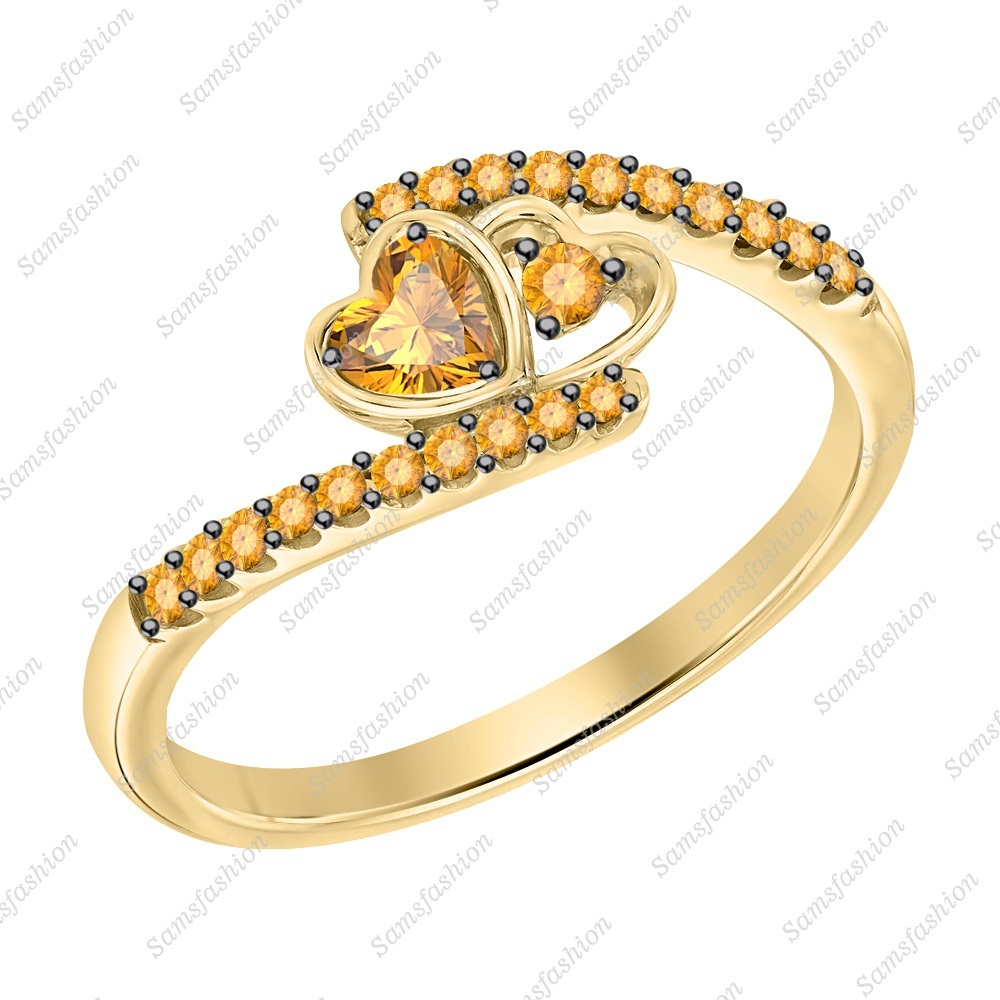Primary image for Heart Shaped Citrine 14k Yellow Gold 925 Silver Double Heart Anniverasry Ring