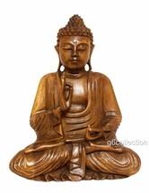 "20"" Large Heavy Hand Carved Wooden Serene Meditating Buddha Art Statue S... - $242.49"