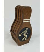 Vintage wooded bowling pins coasters man cave set of 6 - $39.55