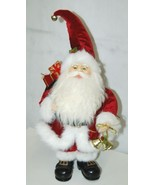 American Silkflower Detailed Santa Figurine Holding Two Gold Colored Bells - $51.95
