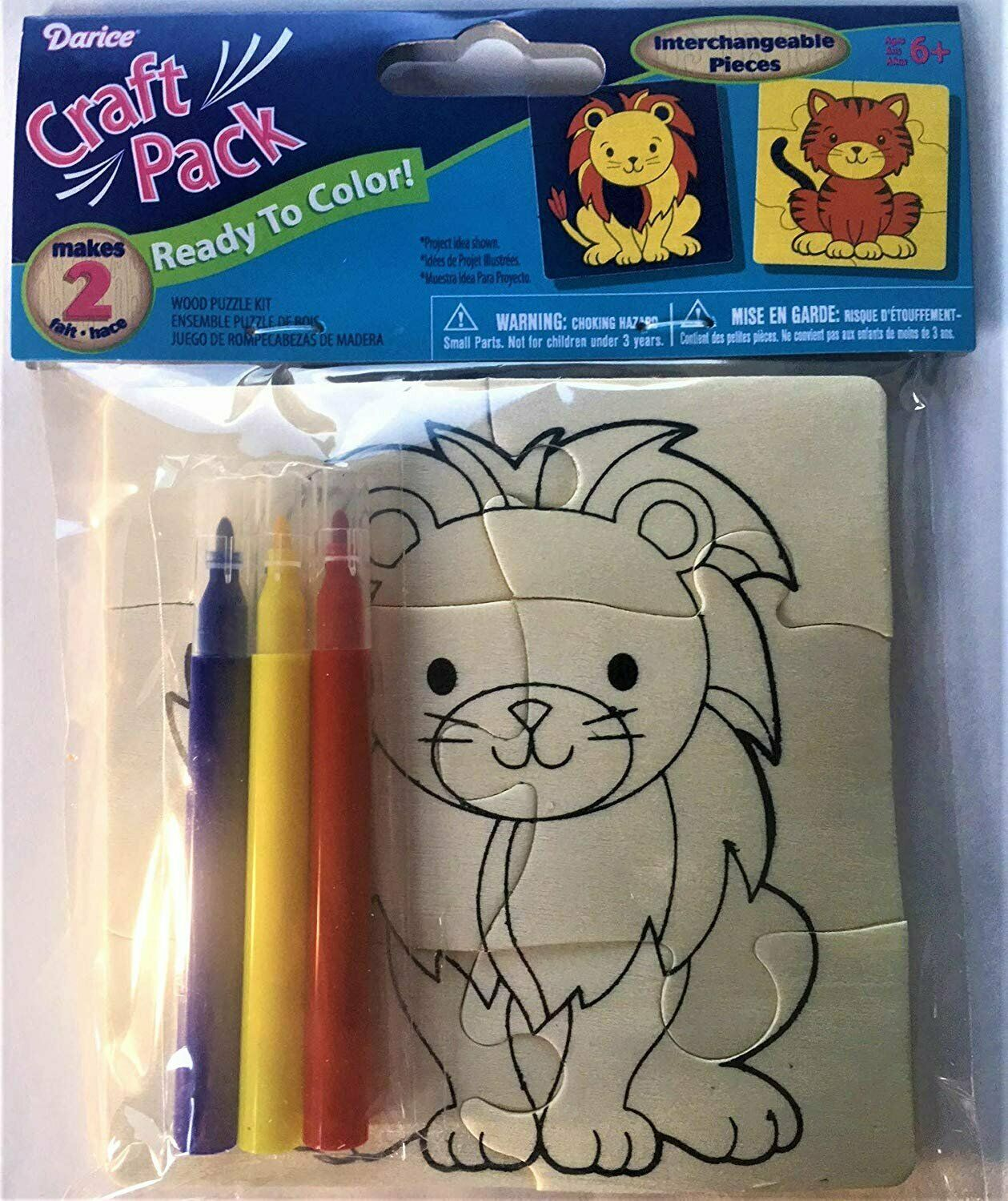 Primary image for Dar-ice Inc. Wood Puzzle Kit Lion and Tiger Craft