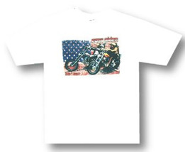 Easy Rider-Thunder-Bikers-Distressed USA Flag-X-Large-White T-shirt - $12.59