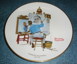 """Vintage 1978 Norman Rockwell """"Triple Self Portrait"""" Gorham Collectible Plate! - $8.72"""
