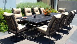 11 piece aluminum outdoor dining set patio chairs table Santa Anita bronze image 2