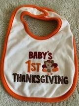Carters Baby Cream Orange Baby's 1st Thanksgiving Turkey Embroidered Bab... - $4.50
