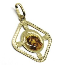 SOLID 18K YELLOW RHOMBUS GOLD MEDAL JESUS CHRIST FACE 22mm, WITH FRAME & ENAMEL image 2