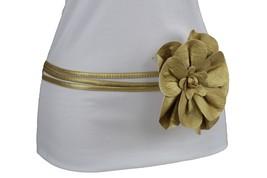Women Fashion Gold Belt Hip Waist Tie Skinny Faux Leather Fabric Flower ... - $14.69