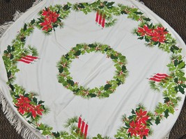"Vintage Christmas Tablecloth Cotton Fabric 50"" Round + Fringe Poinsettia... - $48.51"