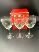 Nikko Christmas Tree 10-1/2 oz. Goblet Wine Glasses Set of 3 - $21.84