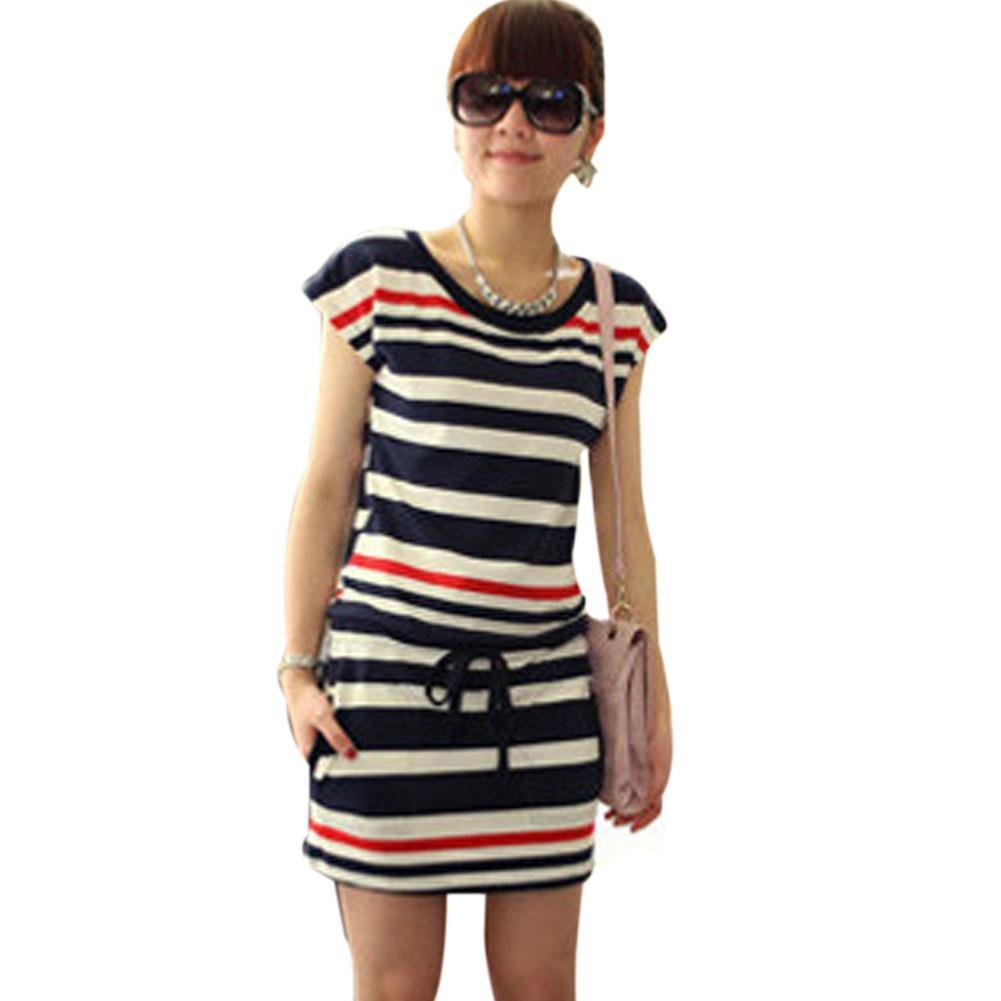 Women Striped Slim Elastic Casual Dress Crew Neck Comfy Short Sleeve Dress With