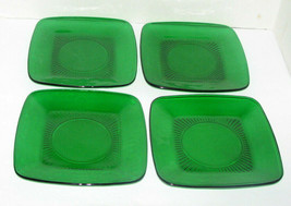 Vintage Anchor Hocking Emerald Green Square Plates 8.5 Inch - $44.53