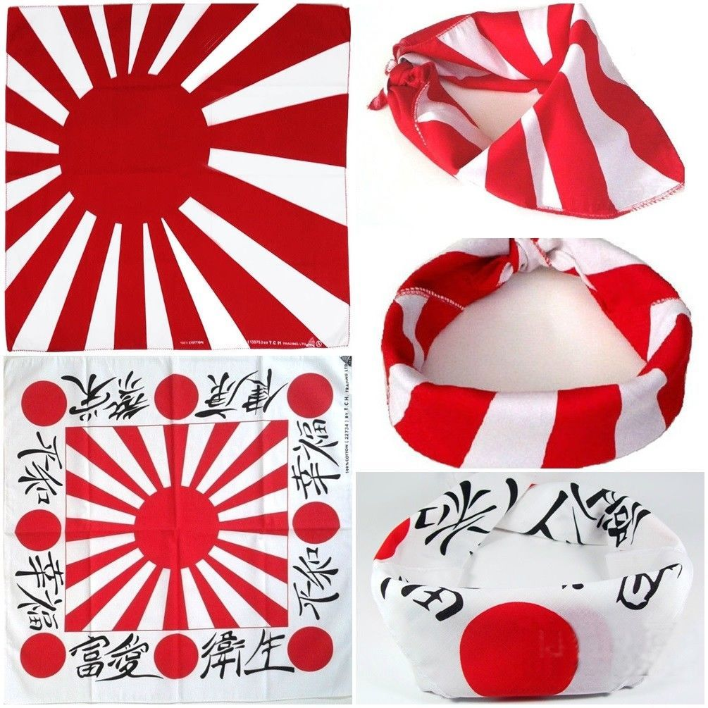 100/% cotton White and Red Japanese Rising Sun design Bandana