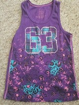 FADED GLORY Purple Ribbed Retro Print Tank Top Girls Size 10-12 - $2.88