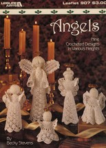 9 Vintage Crochet Angels Victorian Christmas Tree Top Leisure Arts Patterns - $12.99