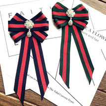 Red Blue Green Flower Dangle Crystal Fashion Ladies Men Pre Tied Bow Brooch Pin - $9.99