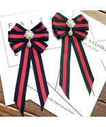 Red Blue Green Flower Dangle Crystal Fashion Ladies Men Pre Tied Bow Bro... - $9.99