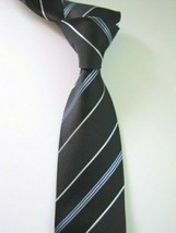 KENNETH COLE Black Silver Blue Stripes Pattern Luxury Tie Great Formal N... - $13.99