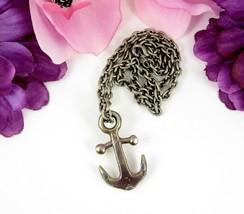 Oil Slick ANCHOR PENDANT Vintage NECKLACE Silvertone Men Sailor Boat Nau... - $16.99