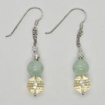 Silver Earrings 925 Rhodium Hanging with Quartz Citrine Aquamarine Green image 1
