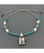 Vtg Santo Domingo Liquid Silver Turquoise & Shell Kachina Inlay Pendant ... - $39.99