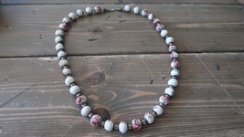 Vintage Painted Flower Bead Necklace Sterling Silver Clasp 26 inches x 1... - $19.79